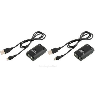 2X 4800mAh Battery Pack + Charger Cable for Xbox 360 Wireless Controller Set
