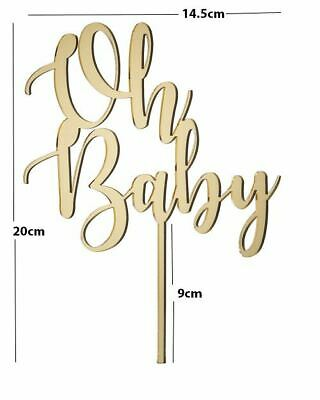 Oh Baby Acrylic Cake Topper - Baby Shower -  Mirror Gold/ Mirror Silver
