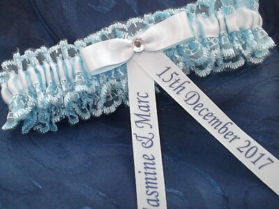 Personalised Blue Bridal Wedding Garter Handmade Crystal Design New In Box