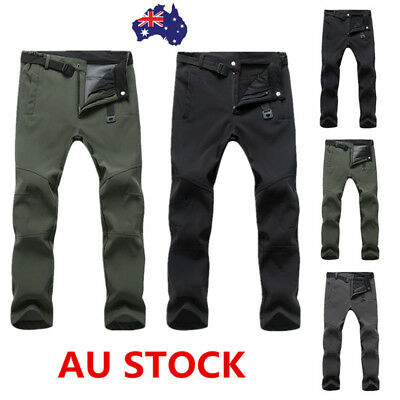 Men's Windproof Waterproof Fleece Padded Sport Pants Outdoor Ski Casual Trousers