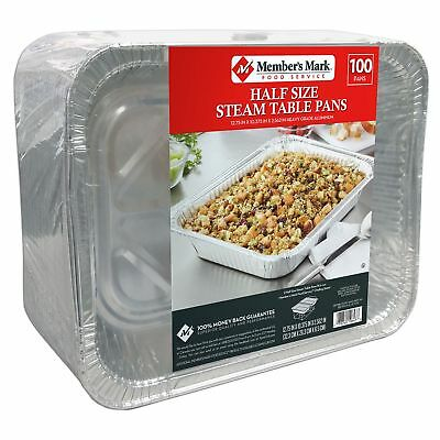 Member's Mark Aluminum Steam Table Pans, Half Size (100 ct.) No Tax Fast Shipmen