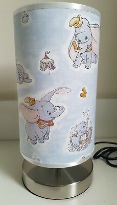 Bedside table touch lamp  night light base fabric shade dumbo baby nursery