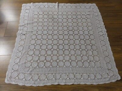 Vintage White Crochet Tablecloth, Hand Made