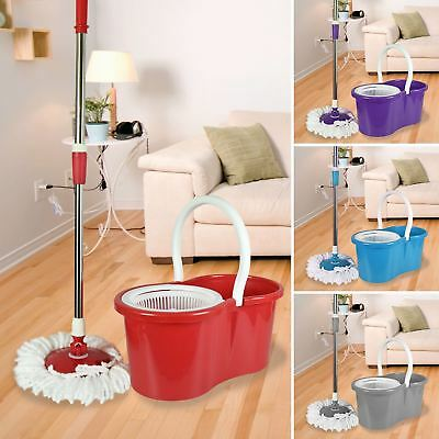 360 Degree Rotating Spinning Spin Mop Bucket Set 2 Microfibre Heads Hard Floors