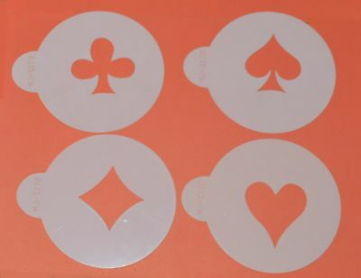 Card Suit Stencils x 4 Cupcake Cookie Cake Stencil Outline Decorating Icing
