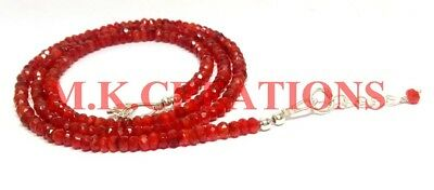 3-4MM 925 Sterling Silver Natural Dark carnelian Faceted Beads Necklace Jewelry