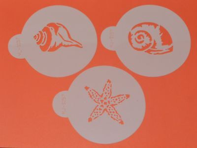 Sea Shells Stencils x 3 Cupcake Cookie Cake Stencil Outline Decorating Icing