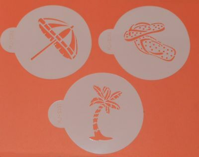 Beach Themed Stencils x 3 Cookie Cake Stencil Outline Decorating Icing