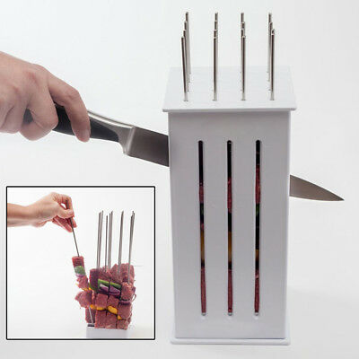 BBQ Grill 16 Hole Skewer Food Slicer Brochette Grill Kebab Maker Box Kit Tool