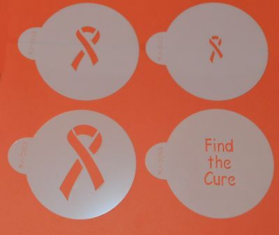 Find The Cure Cancer Stencils x 4 Cookie Cupcake Cake Stencil Decorating Icing