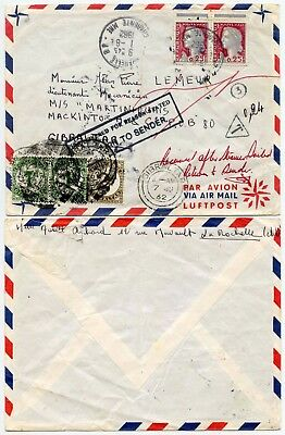 GIBRALTAR POSTAGE DUE to SHIP MARTINIQUAIS from FRANCE 1962 RETURNED 2d + 2 x 1d