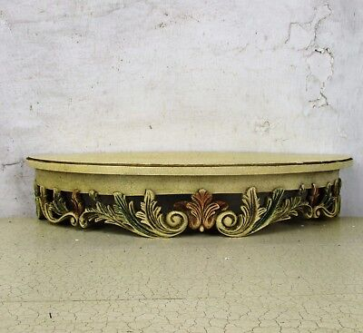 Ornate Wall Mounted Console Shelf French Provincial Corbel Crackled Wood HTF