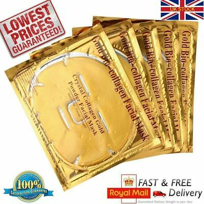 20 x Gold Collagen Bio Crystal Mask Face Facial Anti Ageing Wrinkle Masks UK