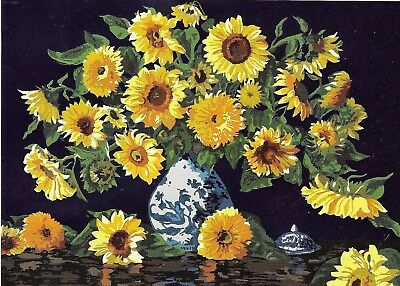 SUNFLOWERS IN A BLUE CHINA BOWL NEEDLEPOINT TAPESTRY canvas to stitch! FREE POST