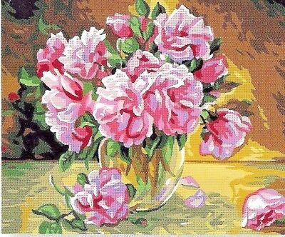 PINK ROSES IN A GLASS BOWL NEEDLEPOINT TAPESTRY canvas to stitch!