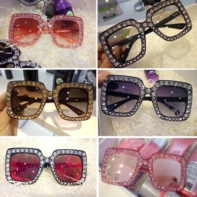 Women Square Rhinestone Frame Sunglasses Protection Goggles Colored Lens Glasses