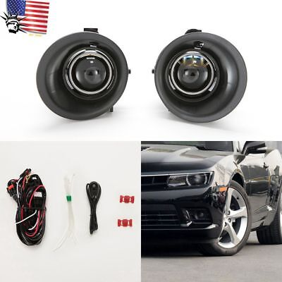 For 2014 2015 Chevy Camaro 3.6L V6 Clear Projector Fog Light Kit w/Bezel Switch