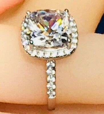 12.8mm Halo Cushion Cut Simulated Diamond Real Solid 925 Silver Engagement Ring