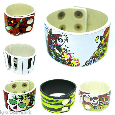 Mens Womens Colored PU Leather Wide Buckle Cuff Bangle Bracelet Body Jewelry