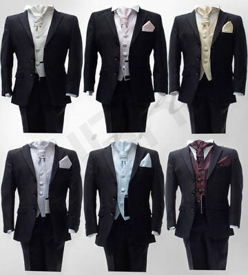 5 Piece Italian Cut Wedding Suits, Black, Navy, Ivory, Beige, Grey Page Boy Suit