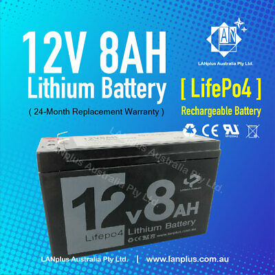 12V 8Ah LiFePO4 Lithium Rechargeable Battery Ultra Light >7Ah 7.2Ah NBN Alarm