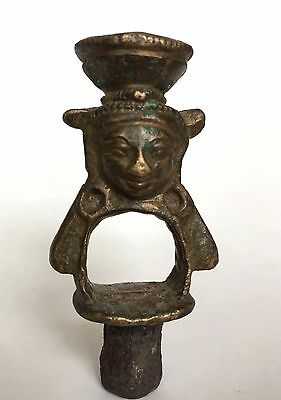 Fragment of antique Tibetan Buddhist bronze five-pronged Ghanta in Middle Ages