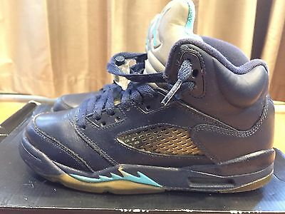 2015 Youth Nike Air Jordan V 5 Hornets Navy Turquoise Blue Size 4Y Used NDS Rare