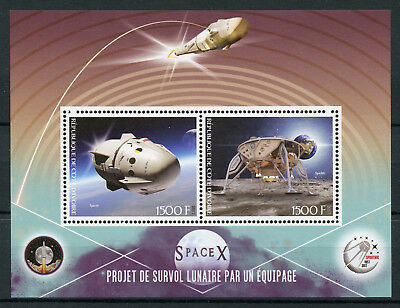 Ivory Coast 2017 MNH SpaceX Flight to Moon Project 2v M/S Space Stamps