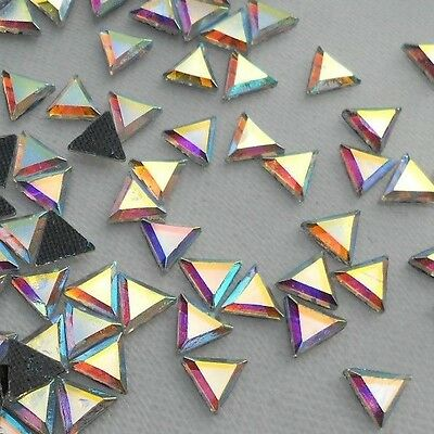 150pcs Hotfix Crystal AB Glass Triangular 6X6mm Flatback Rhinestones Iron on
