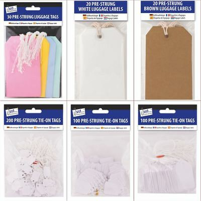 *OFFER* Just Stationery - Pre Strung Luggage Card Label Tags - Full Range