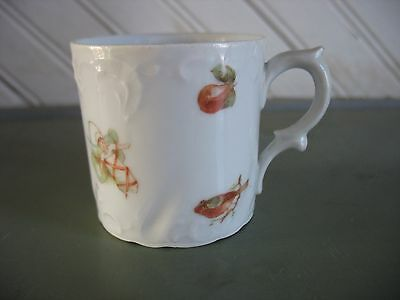 Vintage Childs porcelain cup mug Germany Bird Pear Stove Watering can Baby Wagon