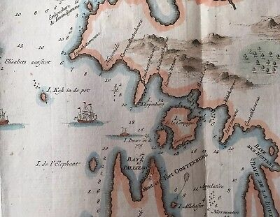 1757 Large Bellin Map Sri Lanka W/ Ships, Compas, Hand Colored. Amazing!