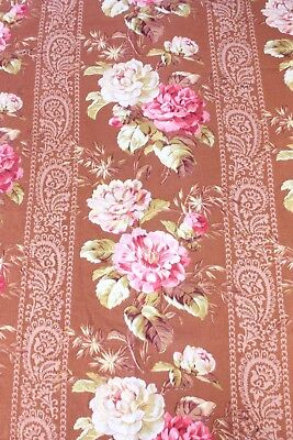 Antique French Pink Roses On Rust Brown Ground Home Cotton Fabric Yardage c1870