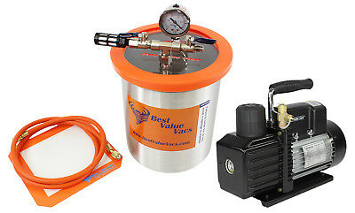 BestValueVacs 1.5 Gallon Tall SS Vacuum Chamber and VE225 4CFM 2 Stage Pump Kit