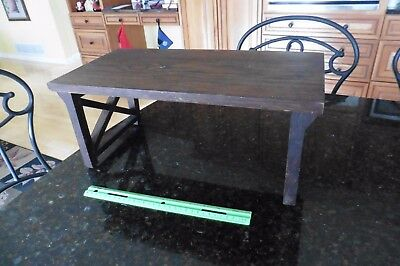 "Wooden folding plant stand bench book ends shelf wood hinged 18"" Vintage rustic"