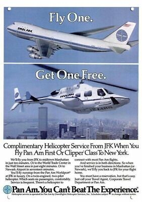 PAN AM AIRLINES JFK HELICOPTER & JET SERVICE Replica Metal Sign - NYC WTC TOWERS
