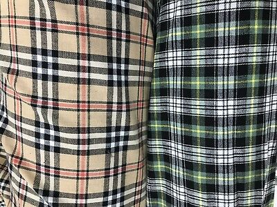 COTTON FABRIC Printed Tartan 150CM SOFT Dress Brushed Craft Upholstery