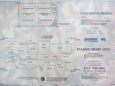 "US Military 58""x41"" Evasion Chart NH-40G 1st Ed Oct 2004 Iran Afghanistan Pakist"