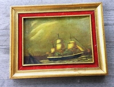Vintage Marine Clipper Ship Oil Painting