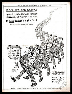 1911 Johnnie Walker print ad - delivery boys Christmas gifts