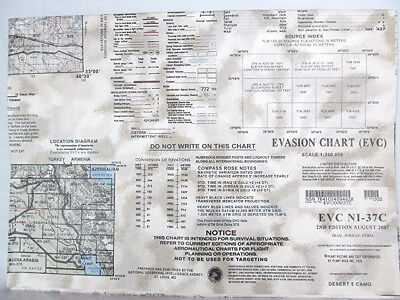 "US Military 58""x41"" Evasion Chart NI-37C 2nd Ed Aug 2007 Iraq Jordan Syria"