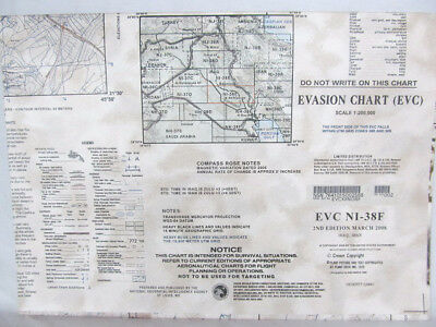 "US Military 58""x41"" Evasion Chart NI-38F 2nd Ed Mar 2008 Iraq Iran"