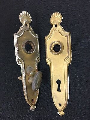 Vintage Antique Pair Stamped Brass Classic Style Door Knob Back Plates Key Hole