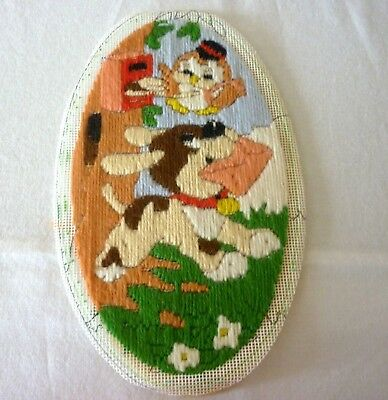 "Vintage Tapestry Dog and Bird Postman, Oval Long Stitch 10"" x 6"""