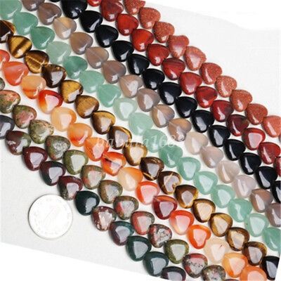 1Strand Agate Crystal Turquoise Heart Gemstone Loose Bead Jewelry Making 10x10mm