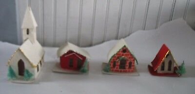 11 Cardboard Putz Houses Taiwan Mica Trees Cellophane Christmas Village Brick