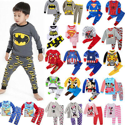 Children Kids Boys Girls Cartoon Sleepwear Nightwear Pj's Pyjamas Set Outfits AA