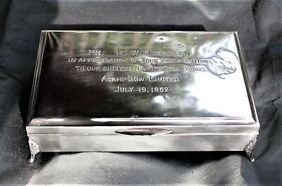 Japanese Sterling (.950) Cigarette Box Presented to Dow Chemical Chairman, 1962