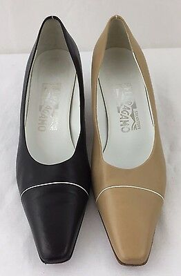 39f750d34d2 Vintage Ferragamo Kitten Heels Womens 9.5AA Classic Pumps Shoes Black Or Tan
