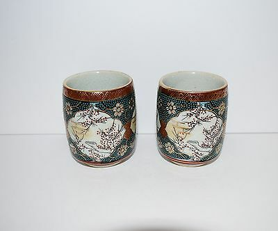 2 Antique Chinese Japanese Porcelain Cups Highly Detailed Gold Accents